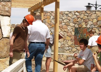Boy Scouts building gazebo in Sensory Garden