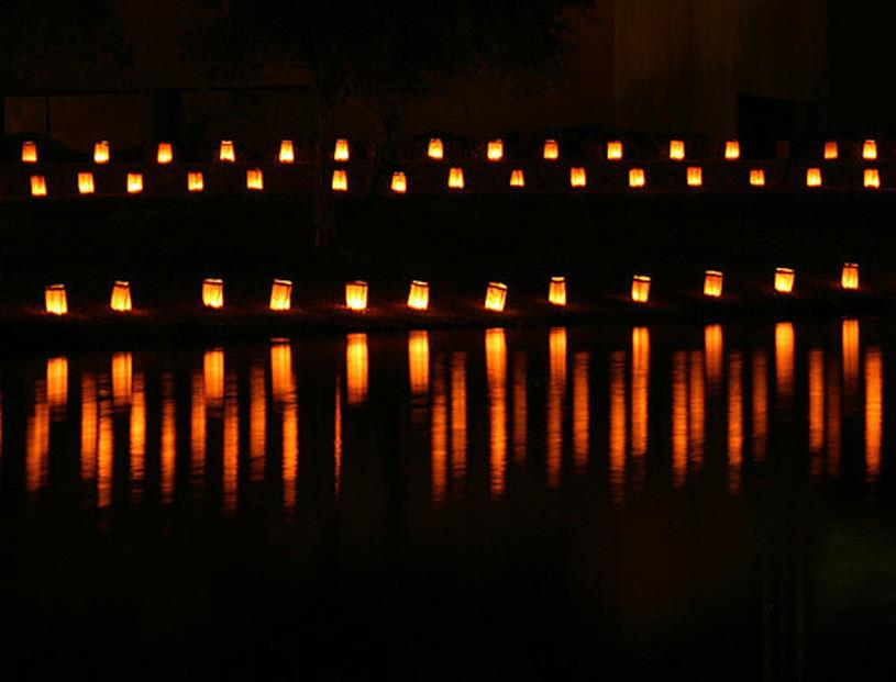 Luminaria refelctions on the lake at Keystone